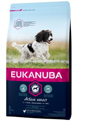 Eukanuba Active Adult Medium Breed Huhn 15 kg